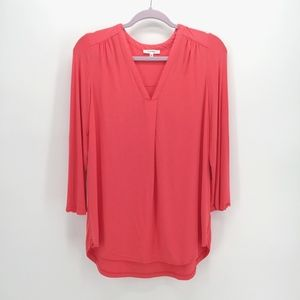 Pleione Mixed Media V-neck Blouse in Red Beauty